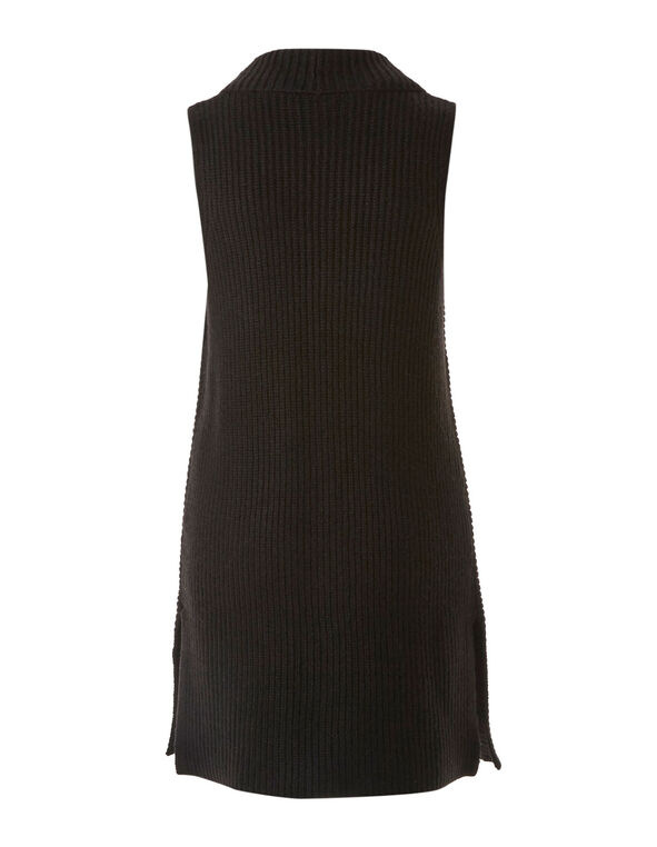Black Rib Knit Vest, Black, hi-res