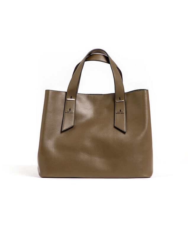 Olive Top Handle Mid-Size Tote, Olive Night