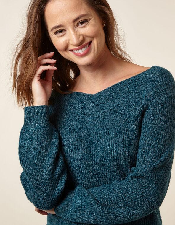 Teal Lurex Blouson Sweater, Turquoise, hi-res