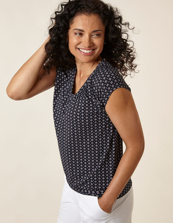 Printed Banded Top, Navy, hi-res
