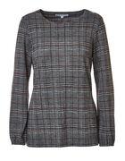 Grey Plaid Zipper Detail Hacchi Top, Grey, hi-res