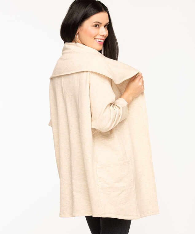 French Terry Wide Lapel Cardigan, Oatmeal