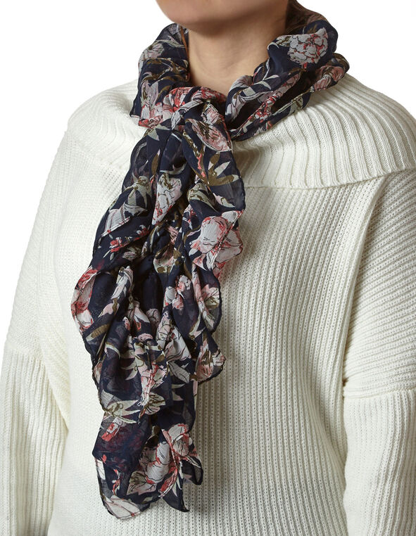 Navy Floral Ruffle Scarf, Navy/Pink, hi-res