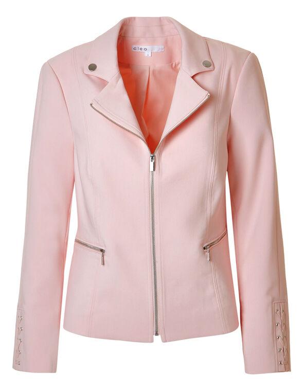 Seashell Pink Lace Up Blazer, Seashell Pink, hi-res