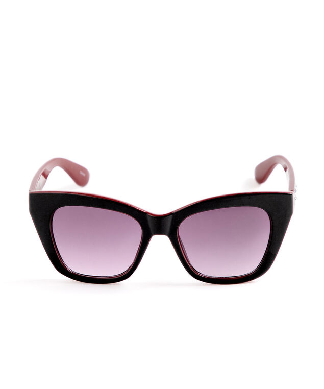 Black Red Cateye Sunglasses, Black/Red