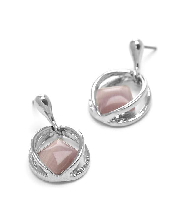 Pink Cat Eye Earrings, Pink, hi-res