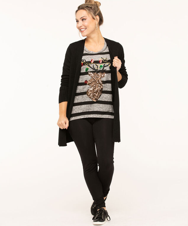 Sequined Reindeer Striped Top, Grey/Black, hi-res