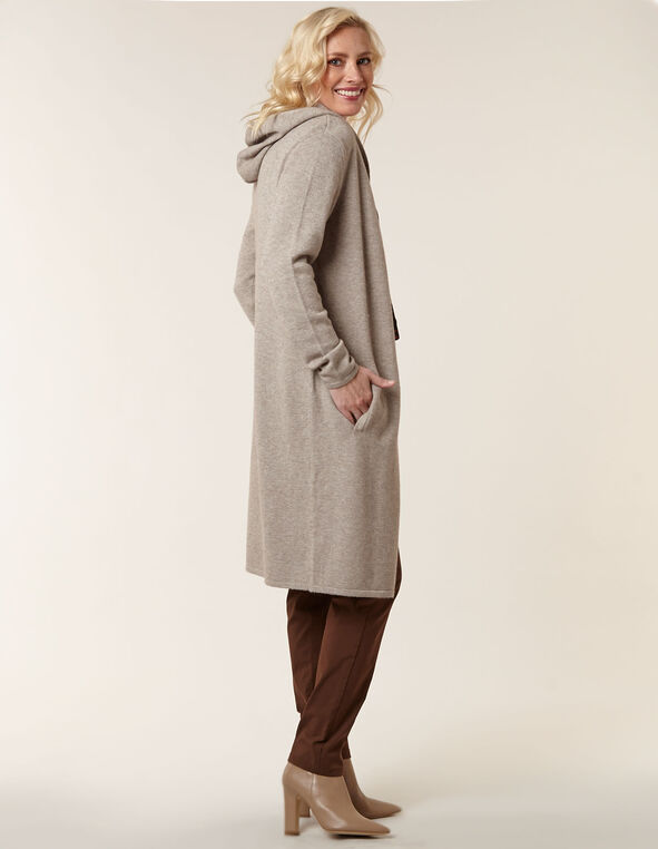 Beige Long Sweater Coat, Beige, hi-res