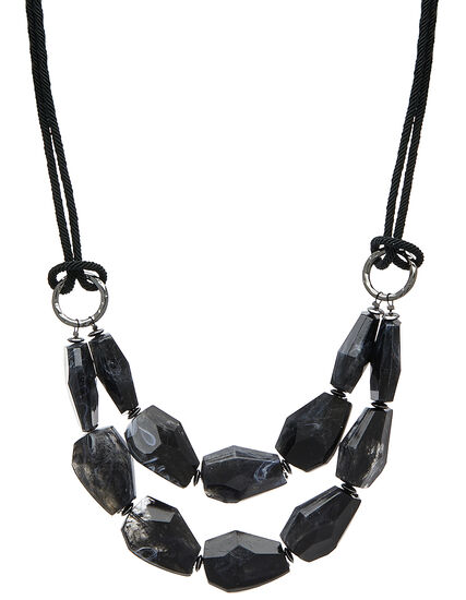 Black Marble Short Necklace, Black/Hemi, hi-res