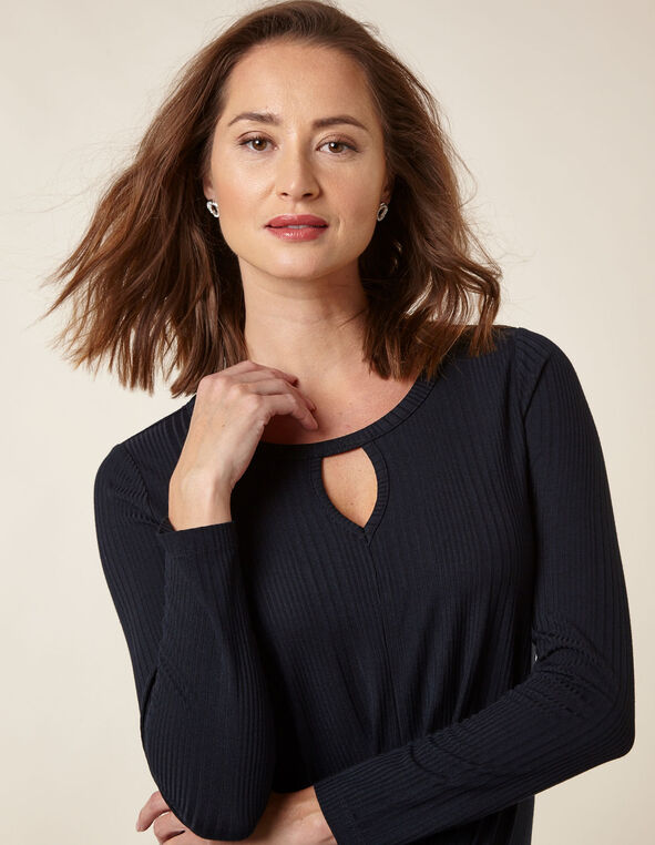 Navy Knit Wrap Front Top, Navy, hi-res