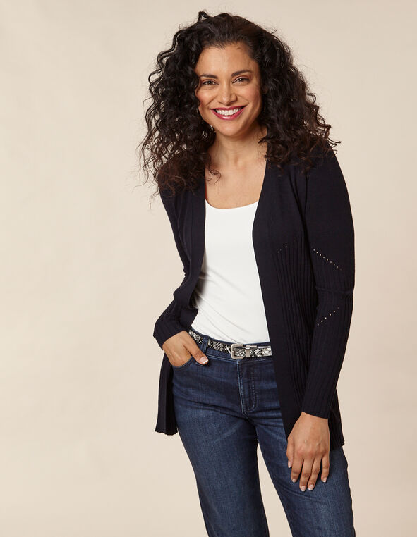 Navy Long Rib Knit Cardigan, Navy, hi-res