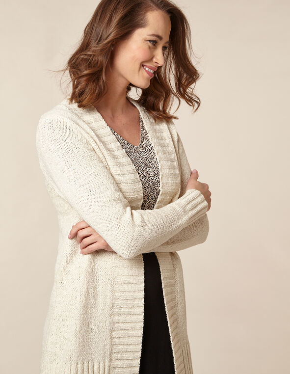 Ivory Tape Yarn Long Cardigan, Ivory, hi-res