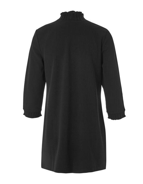 Black Crepe Knit Tunic Top, Black, hi-res