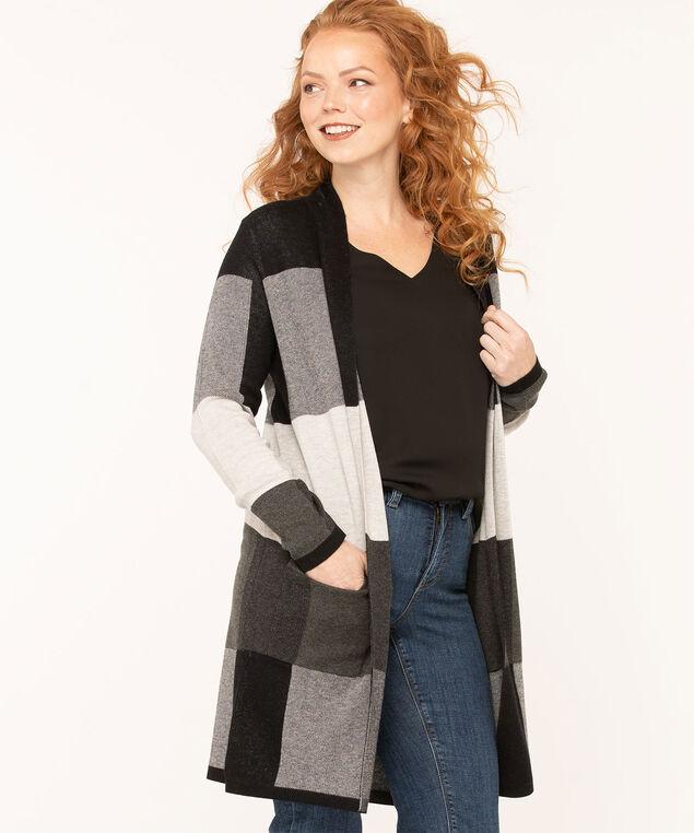 Colour Block Long Open Cardigan, Black/Grey, hi-res