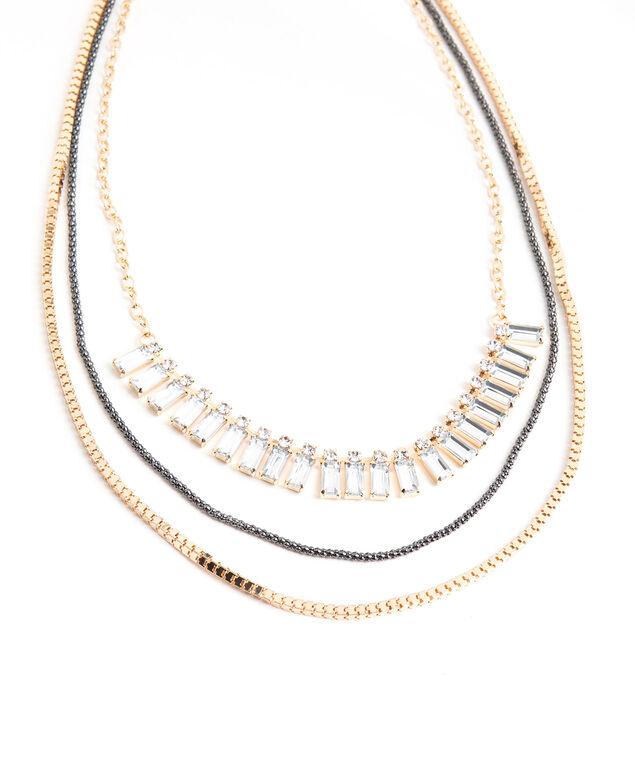 Multilayer Crystal Necklace, Gold