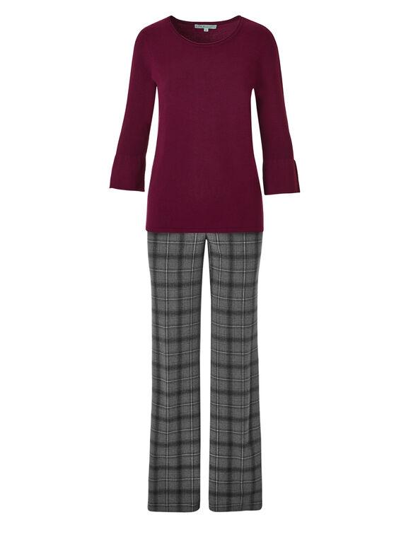 Claret Bell Sleeve Sweater, Claret, hi-res
