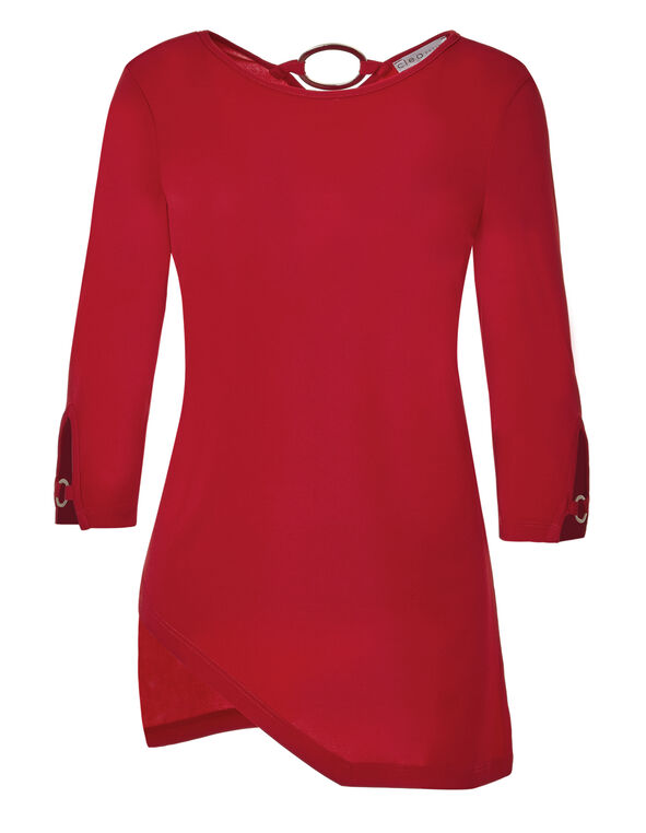Red Asymmetrical Tunic, Red, hi-res