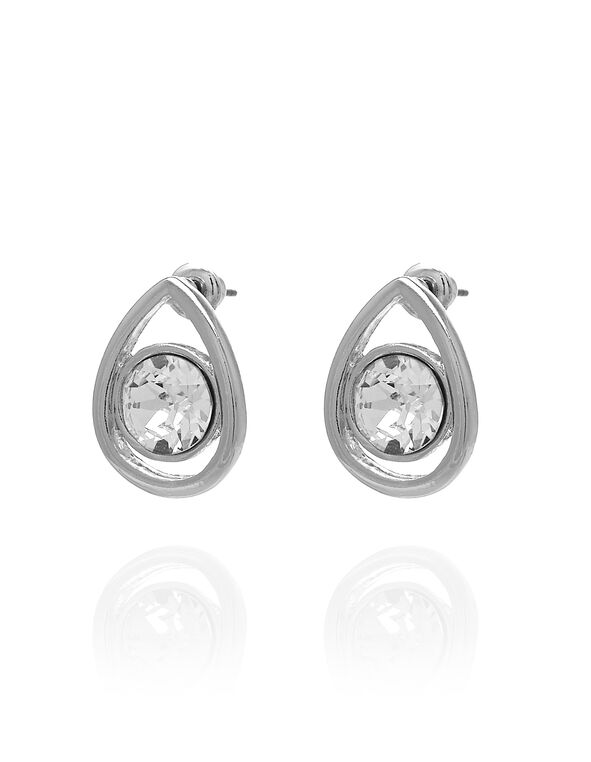 Silver Clear Pear Stud Earring, Silver, hi-res