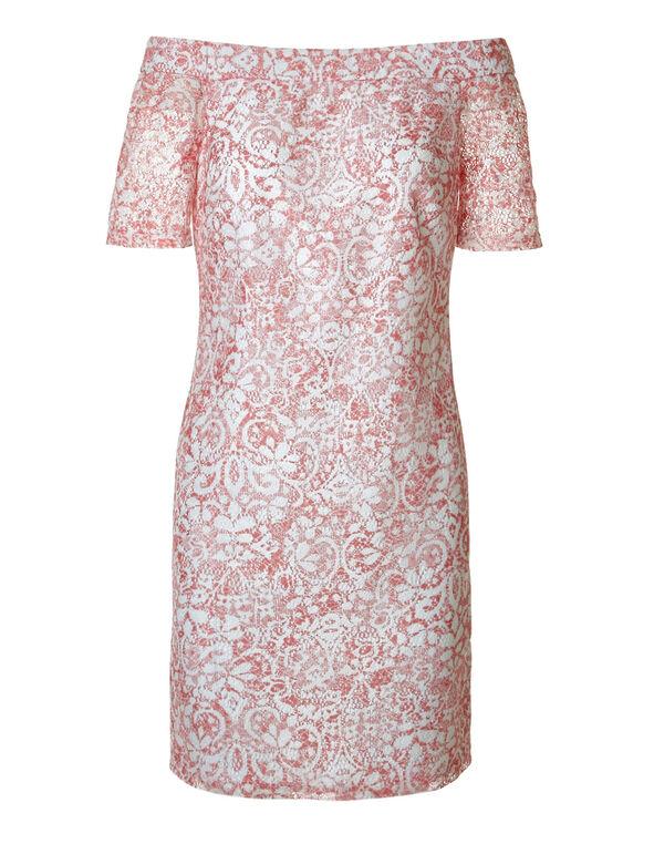 Lace Off Shoulder Dress, White/Coral, hi-res