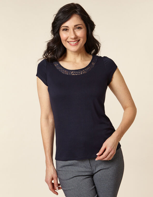 Navy Lace Cap Sleeve Top, Navy, hi-res