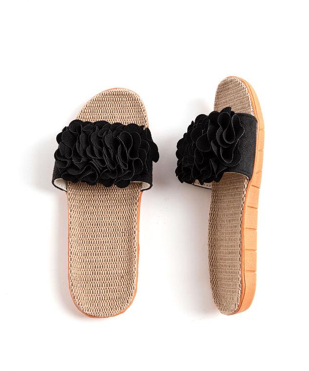 Ruffle Slide Slippers, Black