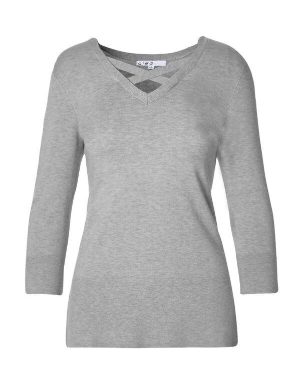 Grey Criss Cross Neckline Sweater, Grey Melange, hi-res
