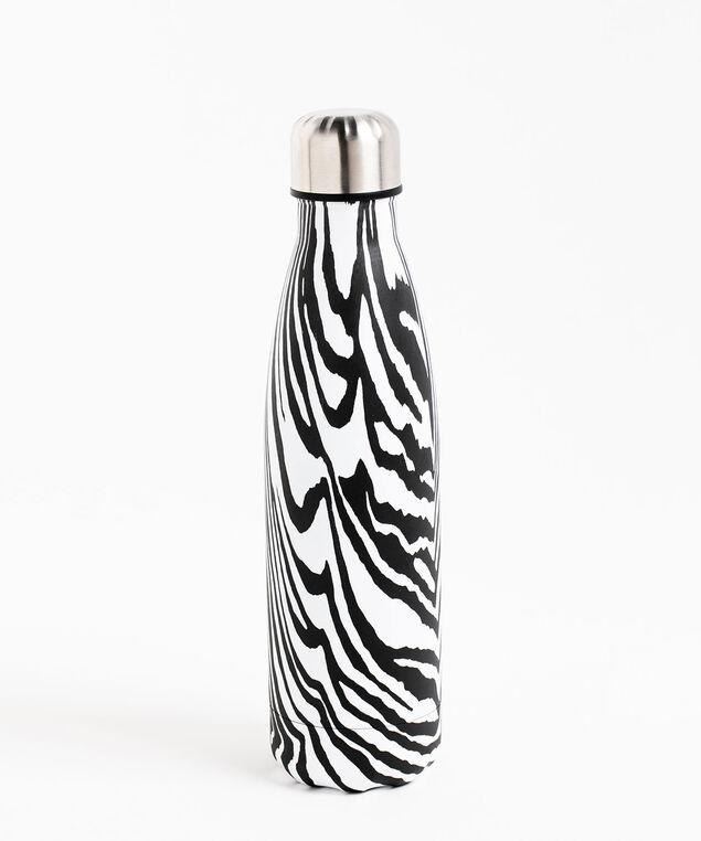 Insulated Water Bottle, Black\White Zebra