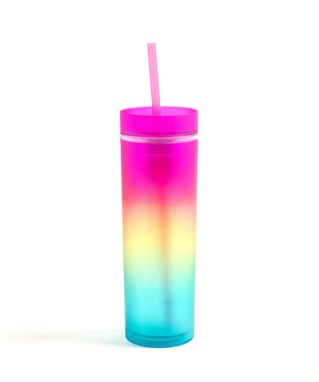 Tie-Dye Tumbler With Straw, Pink
