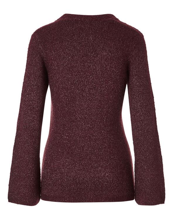 Burgundy V-Neckline Shimmer Sweater, Burgundy, hi-res