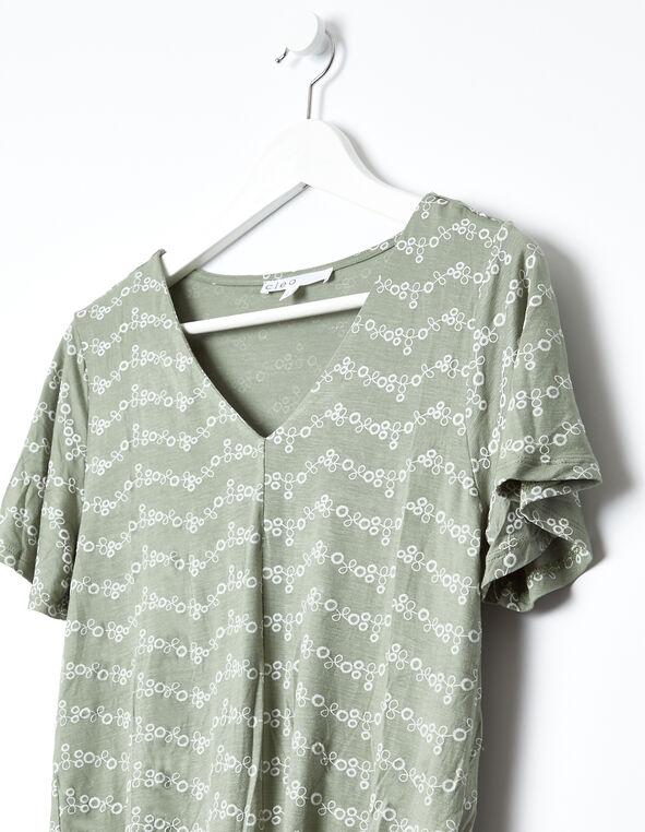 Tie Front Top, Green, hi-res