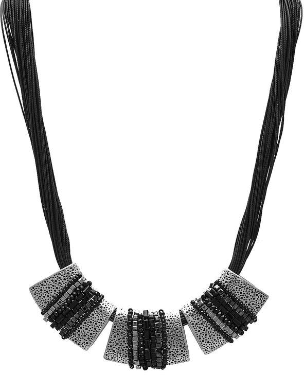 Short Black Corded Statement Necklace, Black, hi-res