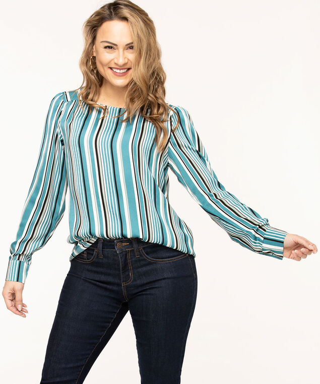 Long Sleeve Scoop Neck Blouse, Teal/Black Stripe