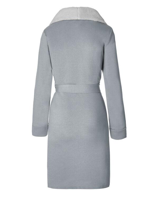 Ivory French Terry Fleece Robe, Grey, hi-res