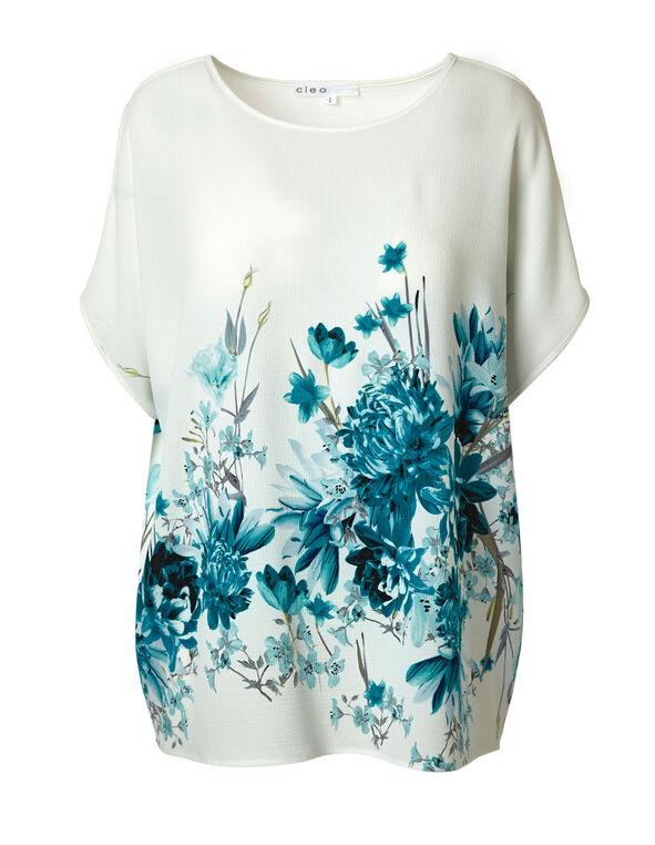 Teal Floral Printed Blouse, Ivory/Teal, hi-res