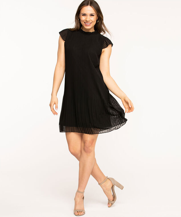 Black Pleated Chiffon Dress, Black