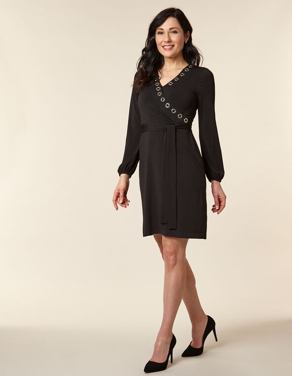 Black Grommet Detail Dress, Black, hi-res