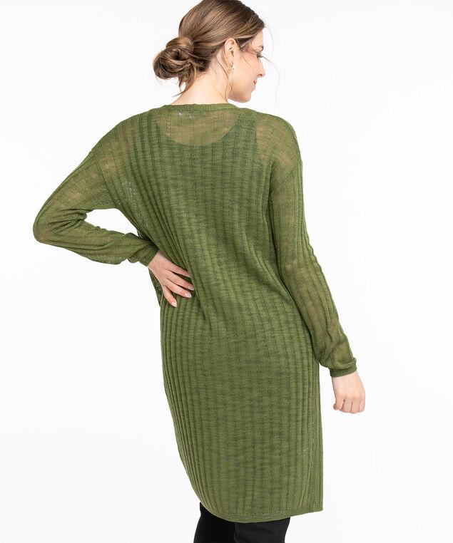 Open Stitch Long Sleeve Cardigan, Pesto