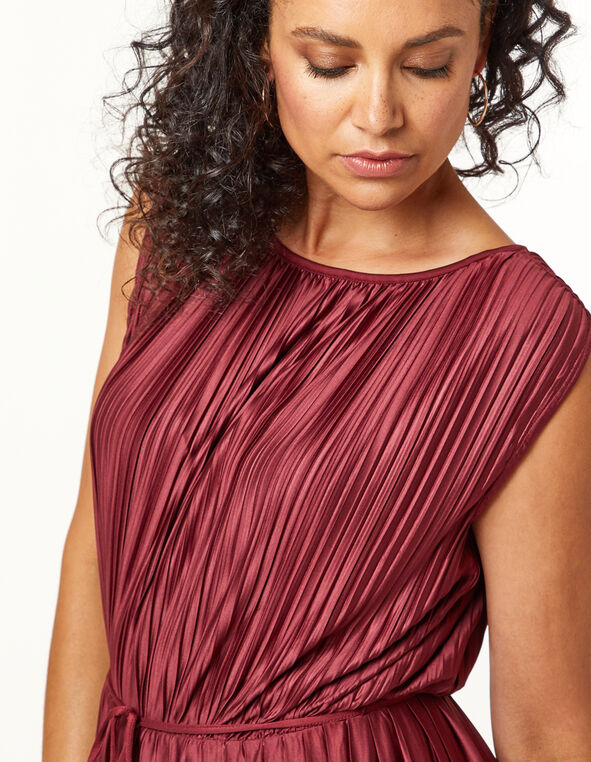 Wine Pleated Dress, Wine, hi-res