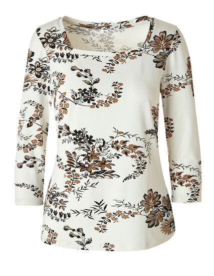 Ivory Floral Square Neck Tee, Ivory, hi-res