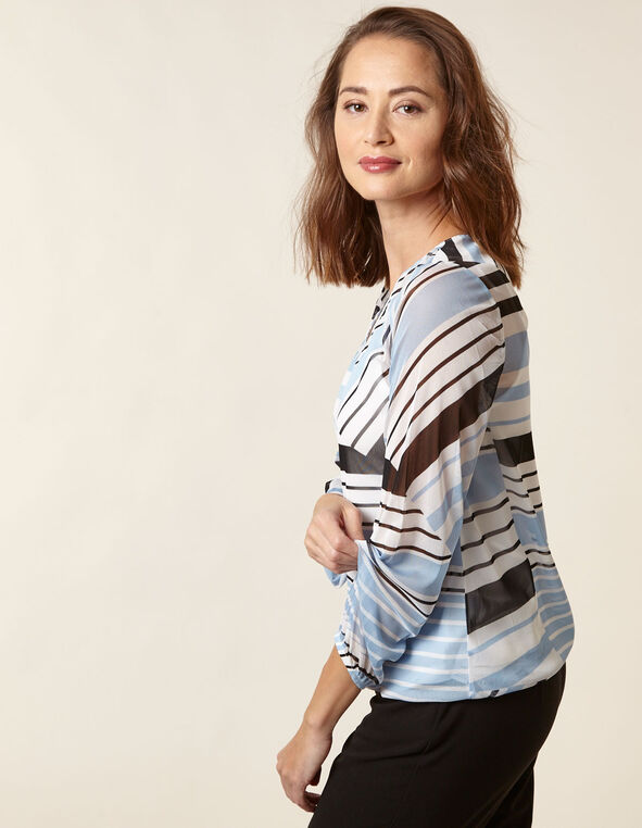 Blue Striped Mesh Top, Blue, hi-res