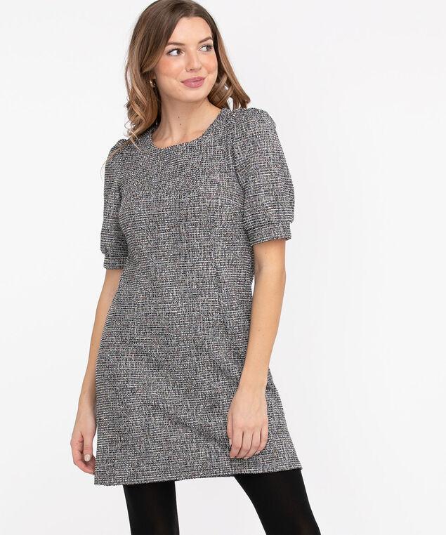 Confetti Boucle A-Line Dress, Black/White/Confetti