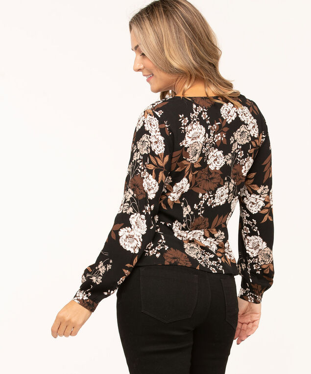 Floral V-Neck Peplum Hem Blouse, Black/Brown/Ivory, hi-res