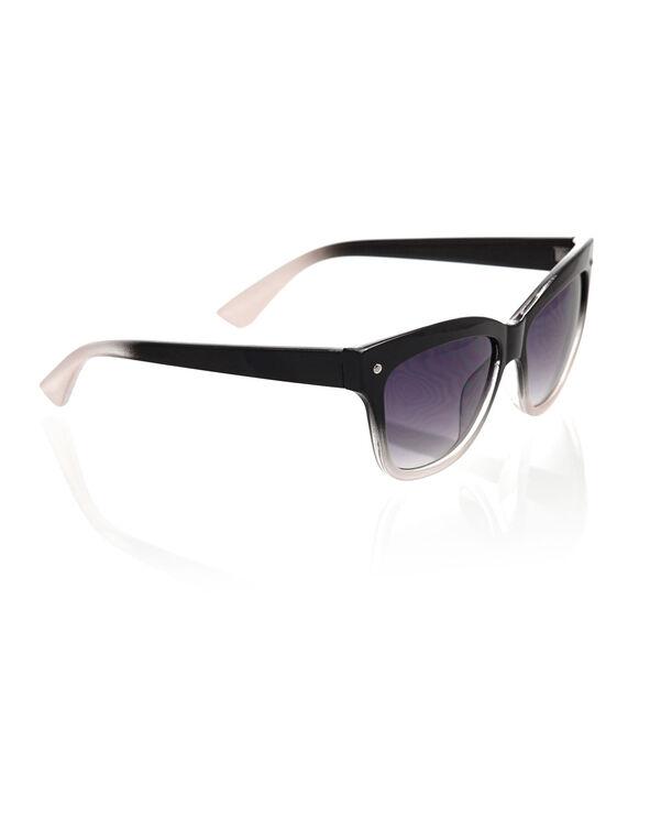 Black Ombre Wayfarer Sunglasses, Black, hi-res