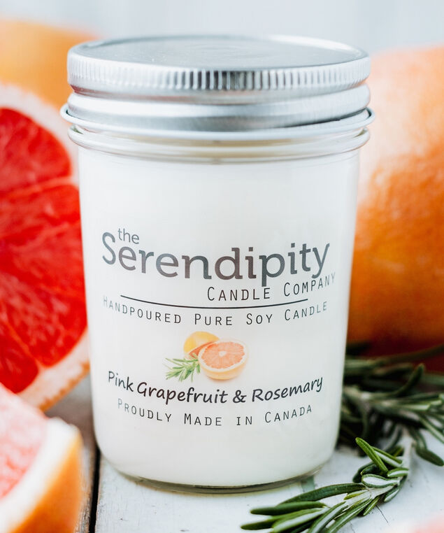Pink Grapefruit & Rosemary Soy Candle, White
