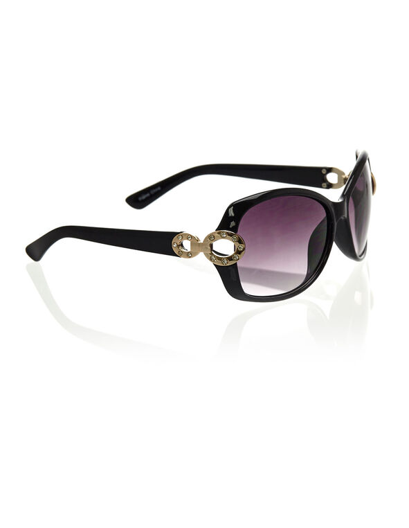 Black Circular Frame Sunglasses, Black, hi-res