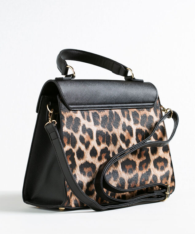 Black Leopard Print Satchel, Black/Camel/Gold, hi-res