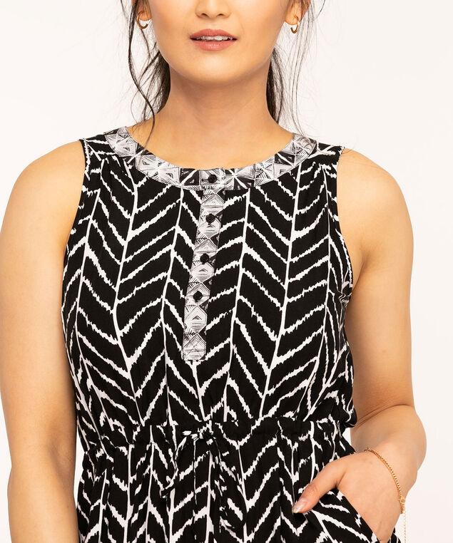 Sleeveless Button Front Printed Dress, Black/White
