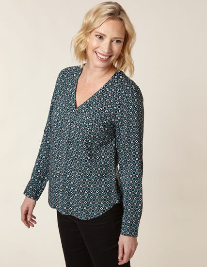 Teal Patterned Blouse, Teal, hi-res