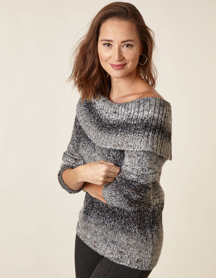 Navy Mix Marilyn Neck Sweater, Navy, hi-res