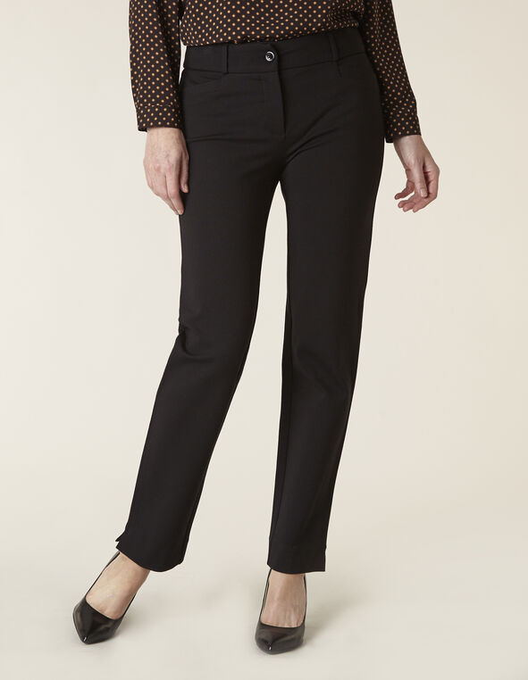 Black Knit Slim Leg Pant, Black, hi-res